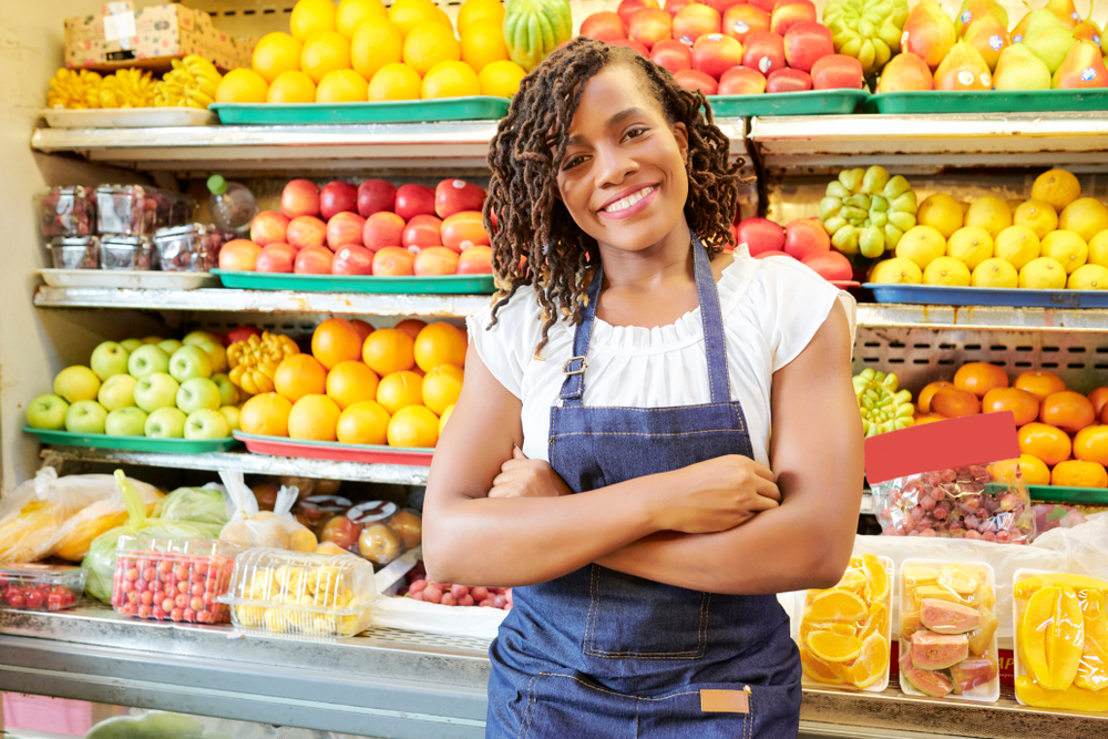 business woman in a fruit store
